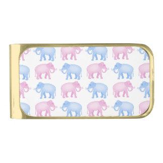 ピンクおよび青い象の性は明らかにします 金色 マネークリップ