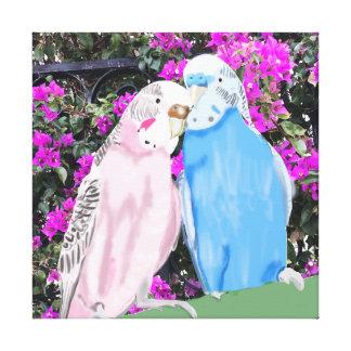 ピンクおよび青くキスをするなBudgiesおよびブーゲンビリア キャンバスプリント