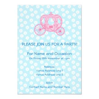 ピンクおよび青のおとぎ話キャリッジデザイン カード