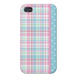 ピンクおよび青のパステル調の創造の格子縞の点 iPhone 4/4S カバー