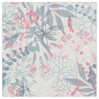 ピンクおよび青の抽象的な花模様 ファブリック