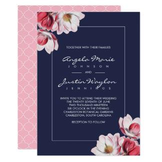 ピンクおよび青を結婚している南マグノリア カード
