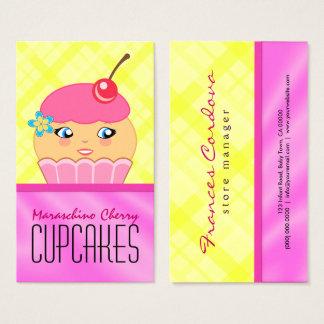 ピンクおよび黄色いカップケーキのキャラクターのパン屋のベーカリー 名刺