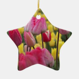 ピンクおよび黄色いチューリップ 陶器製星型オーナメント