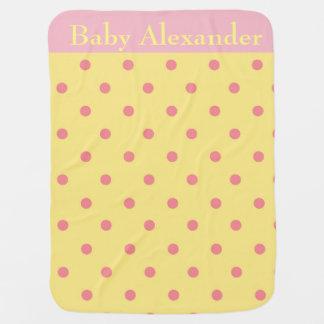 ピンクおよび黄色い水玉模様 ベビー ブランケット