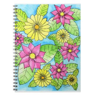 ピンクおよび黄色い花 ノートブック