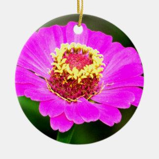 ピンクおよび黄色い《植物》百日草の花 陶器製丸型オーナメント
