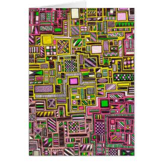 ピンクおよび黄色の幾何学的な形のポップアートのパンク カード