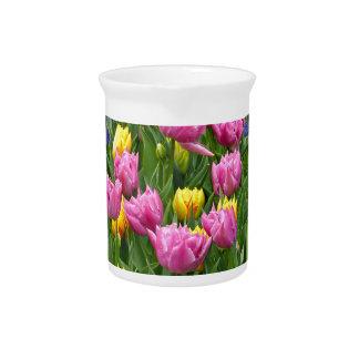 ピンクおよび黄色の春のチューリップ ピッチャー