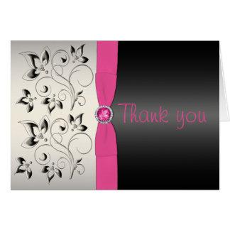 ピンクおよび黒いサンキューカード カード