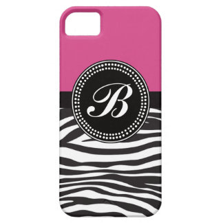 ピンクおよび黒いシマウマのプリントのモノグラムBのiPhoneの箱 iPhone SE/5/5s ケース
