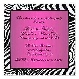 ピンクおよび黒いシマウマの卒業パーティー 13.3 スクエアインビテーションカード