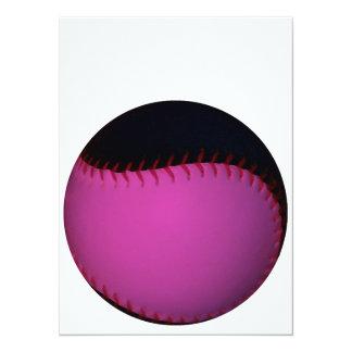 ピンクおよび黒いソフトボール 14 X 19.1 インビテーションカード