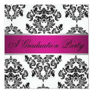 ピンクおよび黒いダマスク織の卒業パーティー 13.3 スクエアインビテーションカード