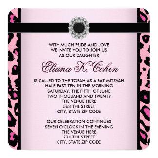 ピンクおよび黒いバルミツワー カード