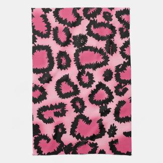ピンクおよび黒いヒョウのプリントパターン キッチンタオル