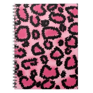 ピンクおよび黒いヒョウのプリントパターン ノートブック
