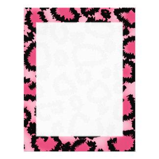 ピンクおよび黒いヒョウのプリントパターン レターヘッド