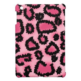 ピンクおよび黒いヒョウのプリントパターン iPad MINIケース