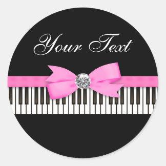 ピンクおよび黒いピアノ鍵の演奏会 ラウンドシール