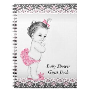 ピンクおよび黒いベビーシャワーの来客名簿 ノートブック