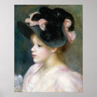 ピンクおよび黒い帽子のAugusteルノアールの若い女の子 ポスター