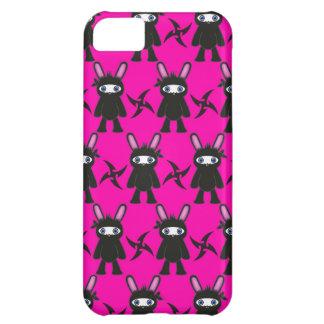 ピンクおよび黒い忍者のバニーパターン iPhone5Cケース