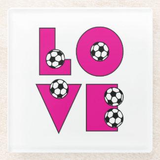 ピンクおよび黒い愛サッカー ガラスコースター