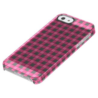 ピンクおよび黒い格子縞の点検のiphoneの箱 クリア iPhone SE/5/5sケース