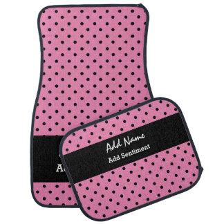 ピンクおよび黒い水玉模様および文字B43B1 カーマット