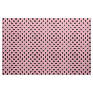 ピンクおよび黒い水玉模様の生地 ファブリック