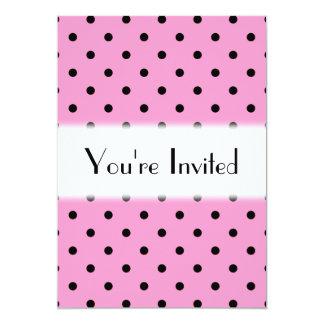 ピンクおよび黒い水玉模様パターン カード
