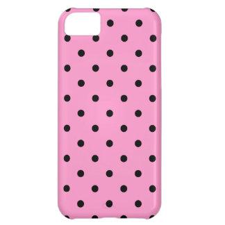 ピンクおよび黒い水玉模様パターン iPhone5Cケース