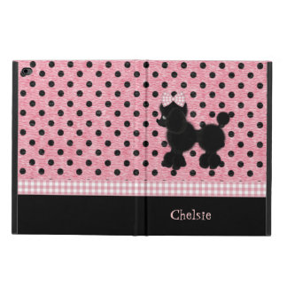 ピンクおよび黒い水玉模様及びプードルのiPadの空気2箱
