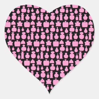 ピンクおよび黒い香水瓶パターン ハートシール