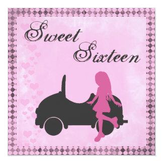 ピンクおよび黒いSweet sixteenの誕生日の招待状 13.3 スクエアインビテーションカード