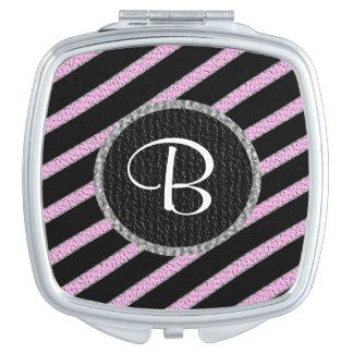ピンクおよび黒のストライブ柄のモノグラムのコンパクトの鏡