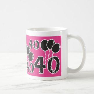 ピンクおよび黒の第40誕生日-古いBday 40 yrsの コーヒーマグカップ