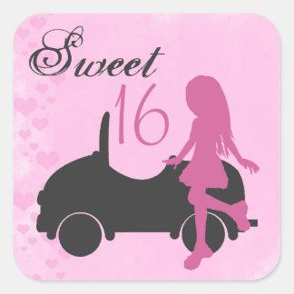 ピンクおよび黒の菓子16のシルエットのステッカー スクエアシール