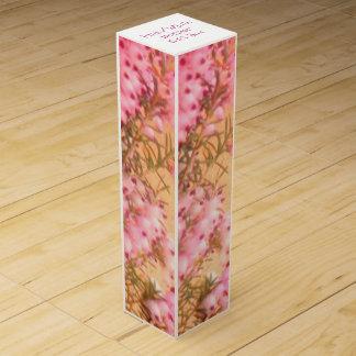 ピンクか白いヒースのワイン用化粧箱 ワインギフトボックス