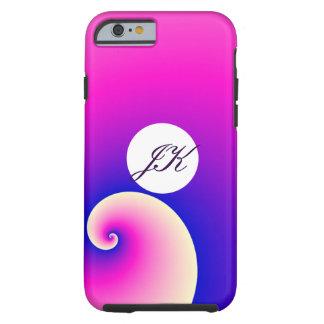 ピンクか紫色のデザインのモノグラムの電話箱 ケース