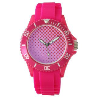 ピンクか赤くスポーティなピンクのケイ素の腕時計 腕時計