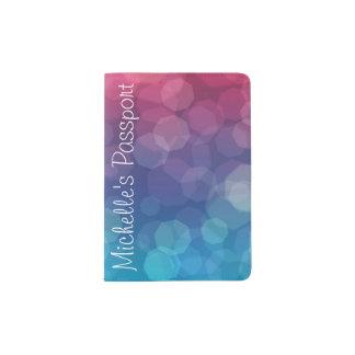 ピンクか青い勾配ライト泡パスポートのホールダー パスポートカバー