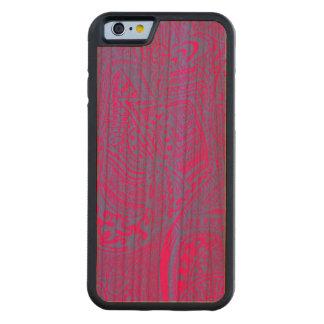ピンクか青い手描きの抽象的な種族の熱狂するな落書き CarvedチェリーiPhone 6バンパーケース