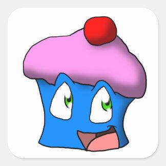 ピンクか青い漫画のカップケーキ スクエアシール