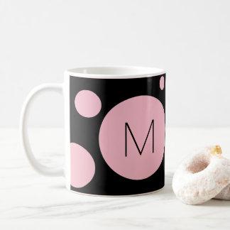 ピンクか黒い点のカスタムのマグ コーヒーマグカップ