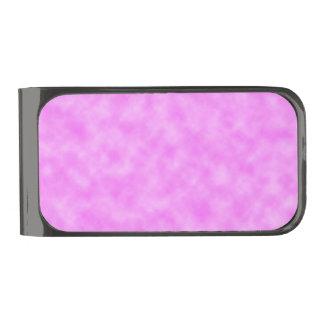 ピンクがかった紫色の作成された雲の抽象美術のデザイン ガンメタルマネークリップ
