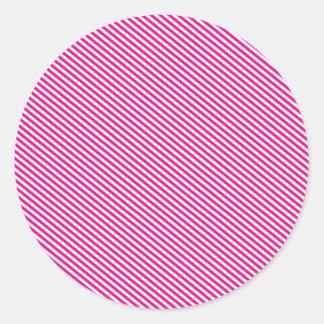 ピンクそして白い斜めのストライプ ラウンドシール