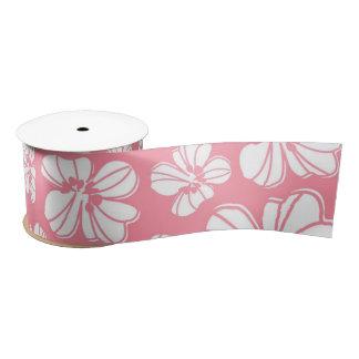 ピンクそして白く大きいハワイの花のリボン サテンリボン