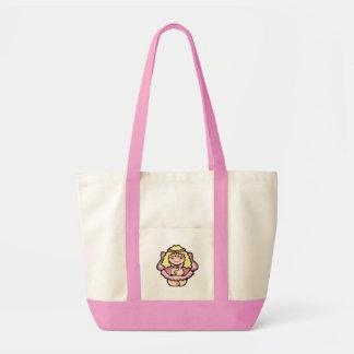 ピンクで微笑する幸せな小さな女の子の天使 トートバッグ